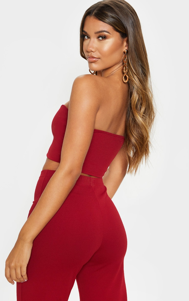 Scarlet Red Sweetheart Bandeau Crop Top 2