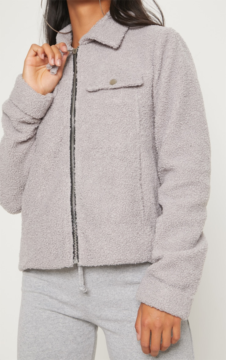 Petite Grey Teddy Fleece Pocket Detail Jacket 5