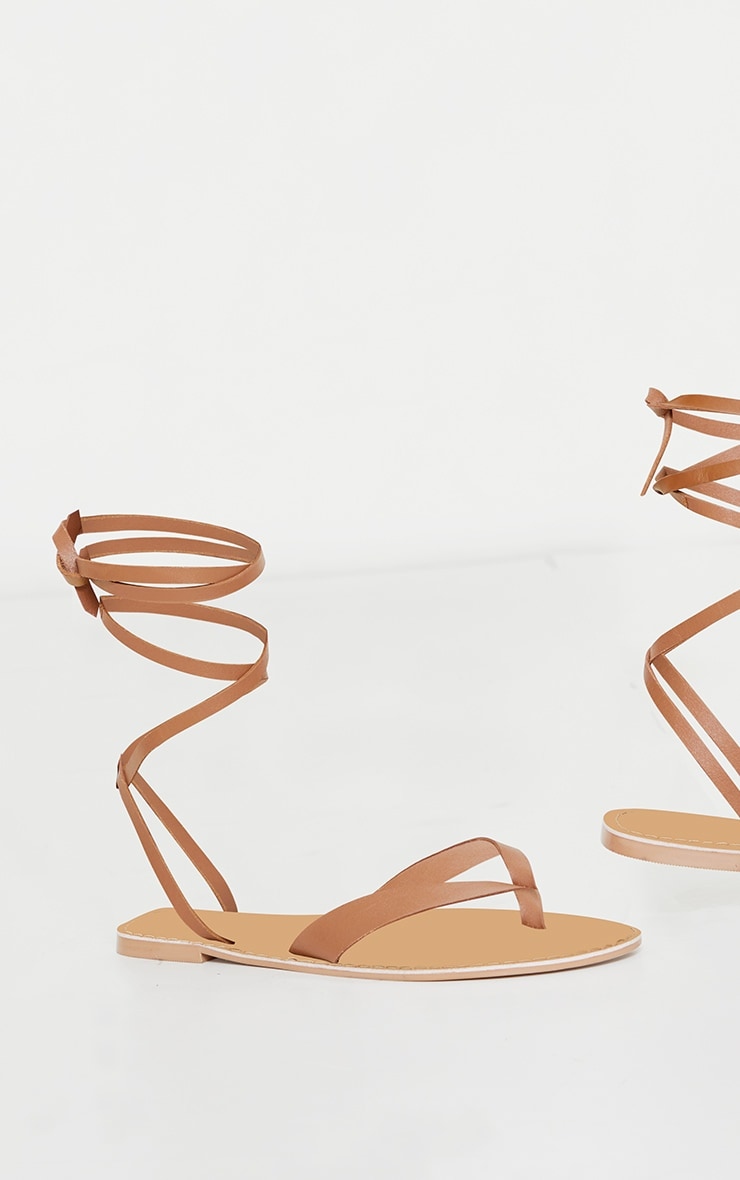 Tan Toe Thong Ankle Tie Strappy Sandals 4
