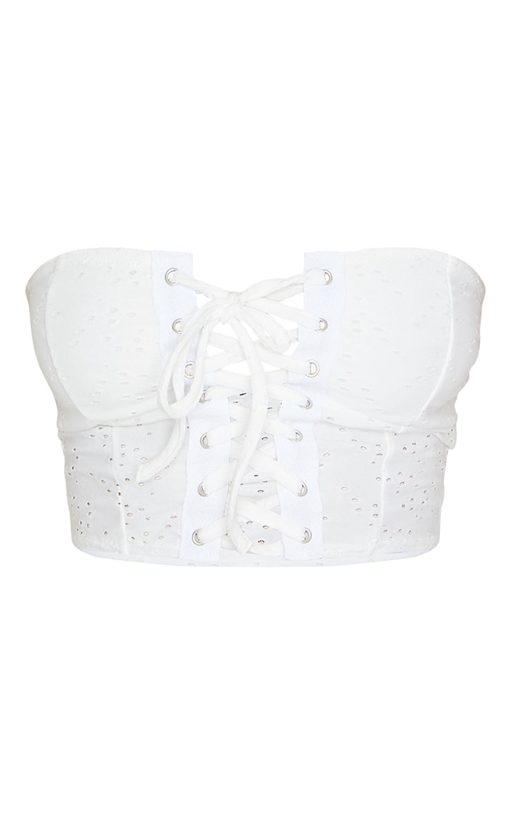 Petite Cream Broderie Anglaise Lace Up Bandeau Top 5