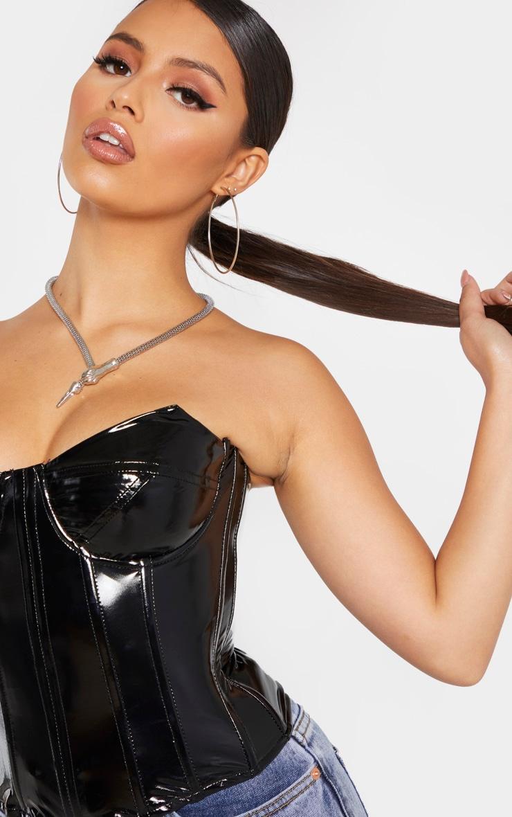 Petite - Top corset noir en vinyle 5