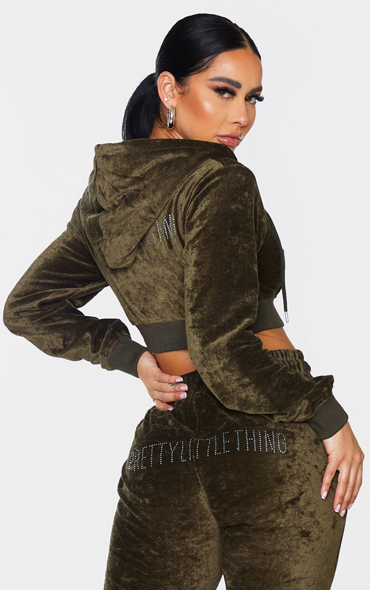 PRETTYLITTLETHING Shape Khaki Velour Extreme Crop Sweater 2