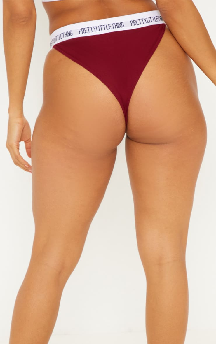 PRETTYLITTLETHING Maroon High Rise Knickers 4