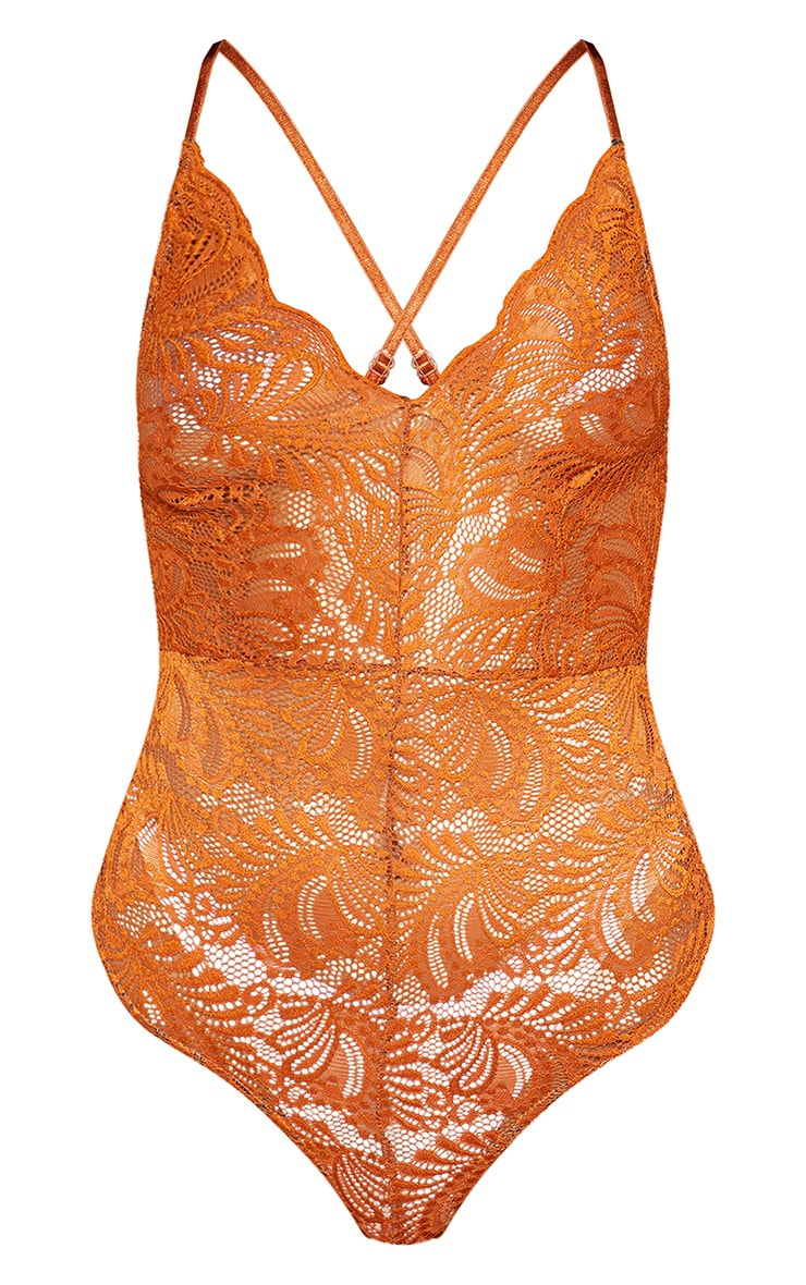Tan Lace Cross Back Bodysuit 3