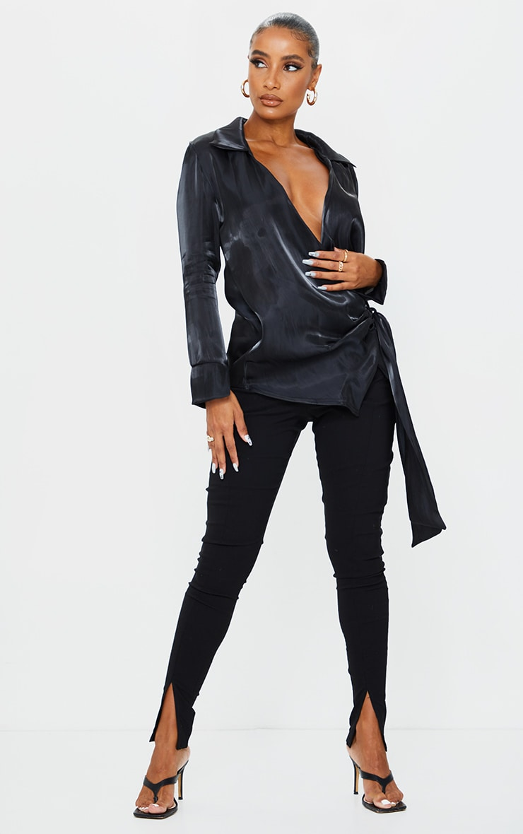 Black Satin Metallic Tie Front Shirt 3