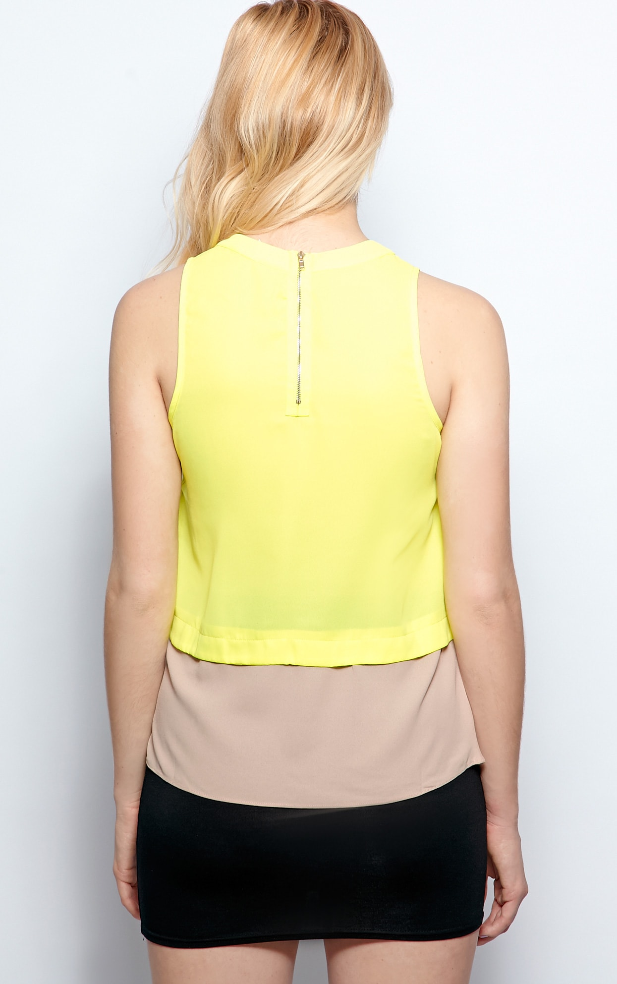 Mya Lime Panel Chiffon Vest 2