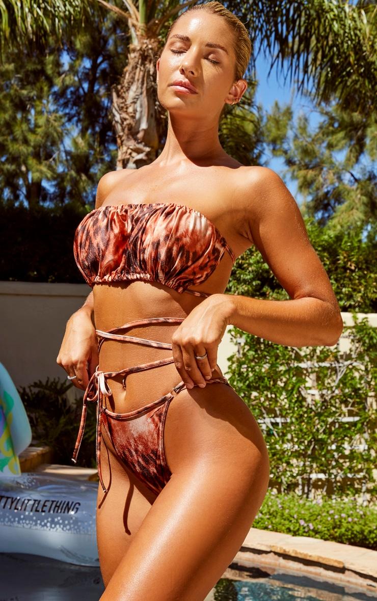 Rust Leopard Tie Wrap Strappy Bikini Bottoms 2