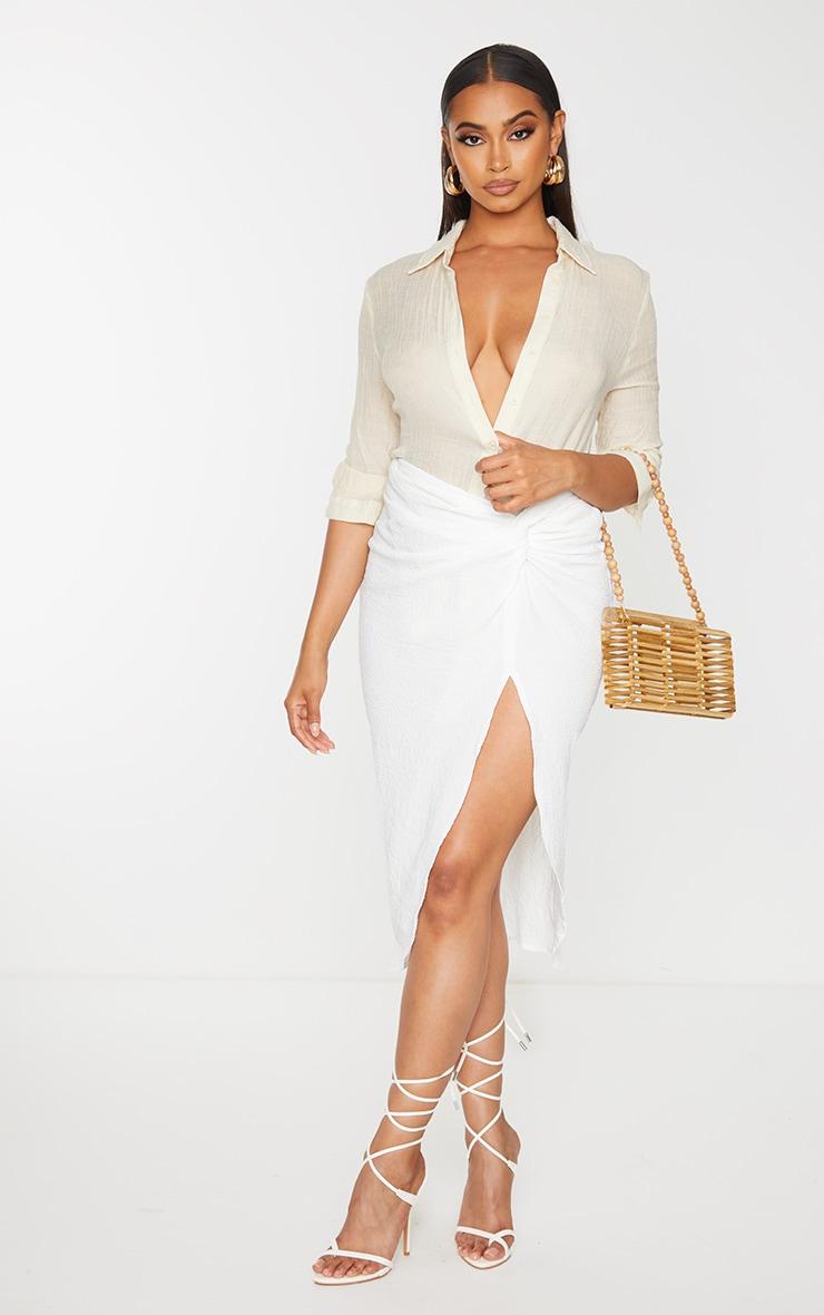 White Textured Knot Front Midi Skirt 1
