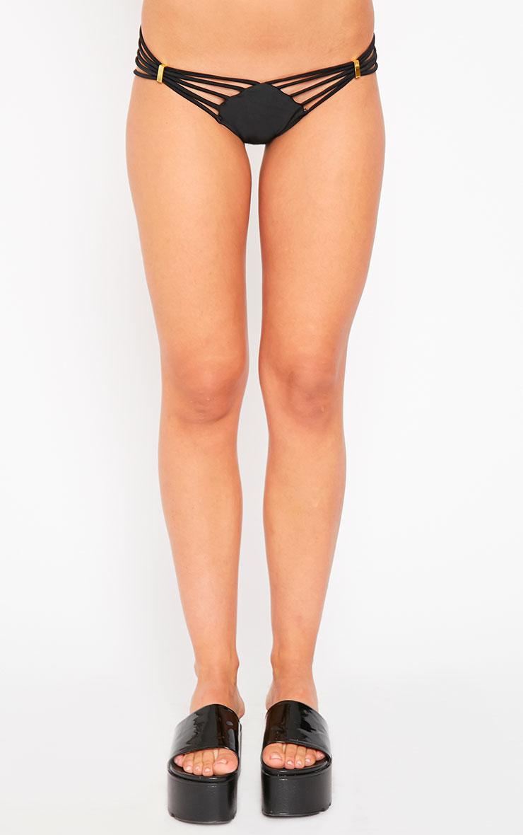 Lara Black Strappy Bikini Bottoms 4