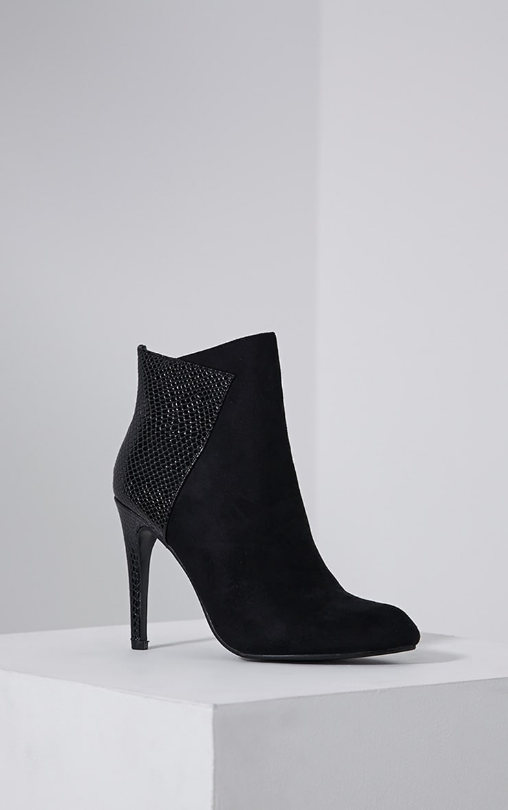 Neve Black Faux Suede Pointed Croc Heel Boots 3