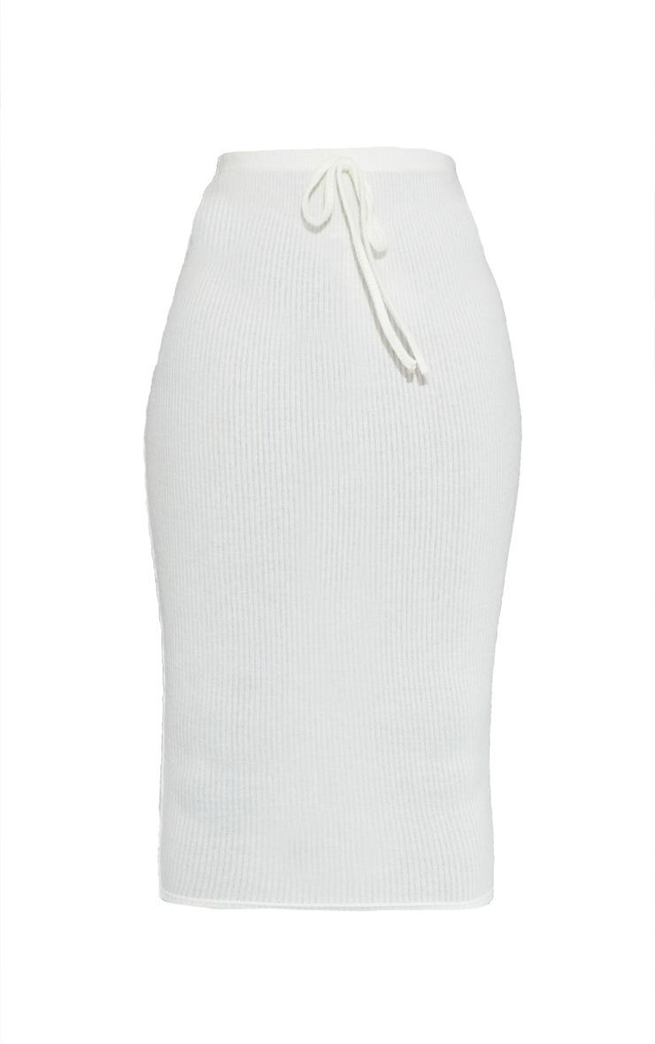 Tall Cream High Waisted Brushed Midi Skirt 5