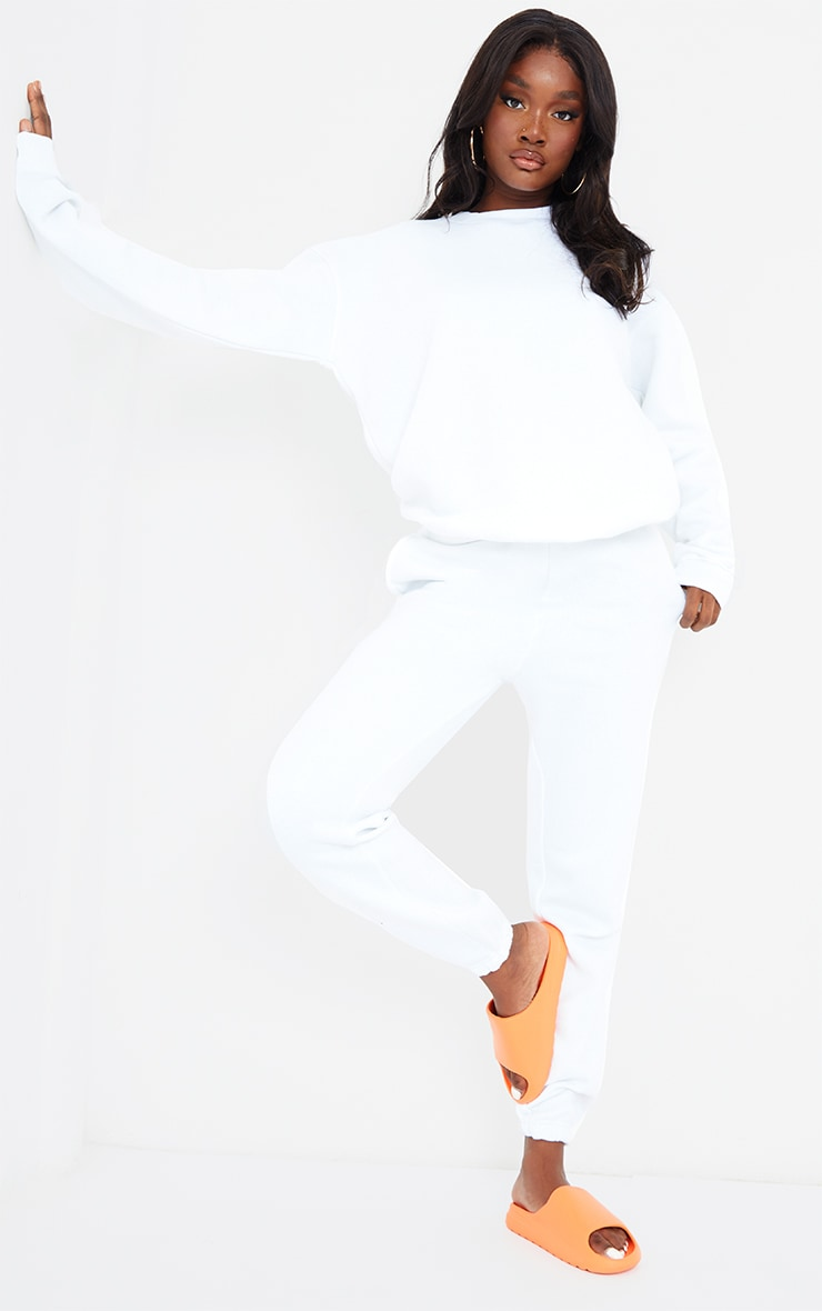 Tall White Casual Cuff Joggers 1