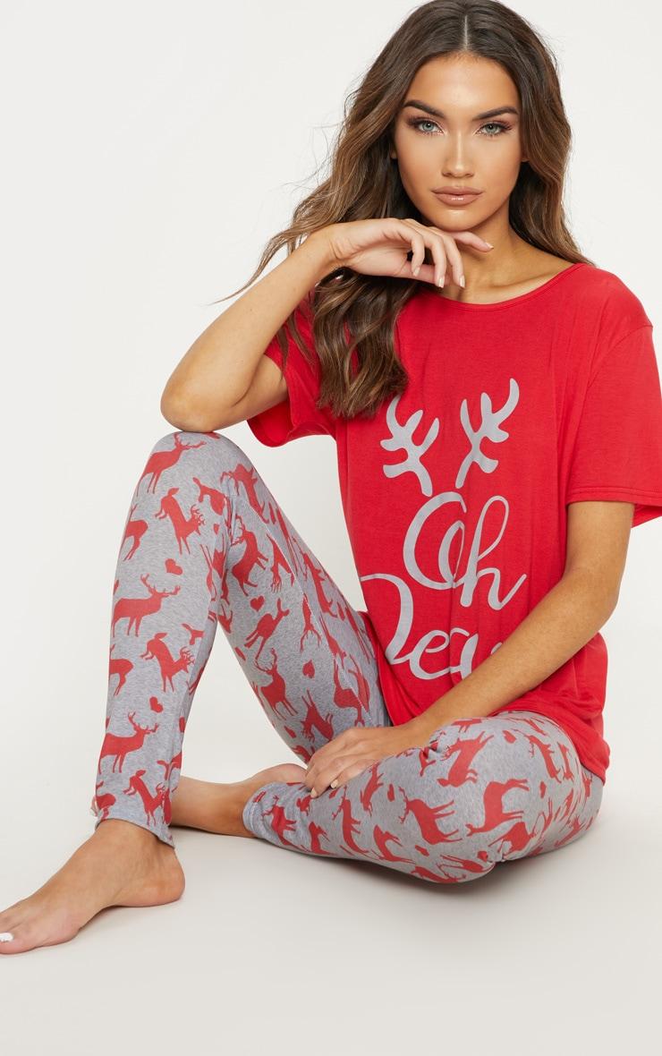 Oh Deer Legging Grey Pyjama Set  1