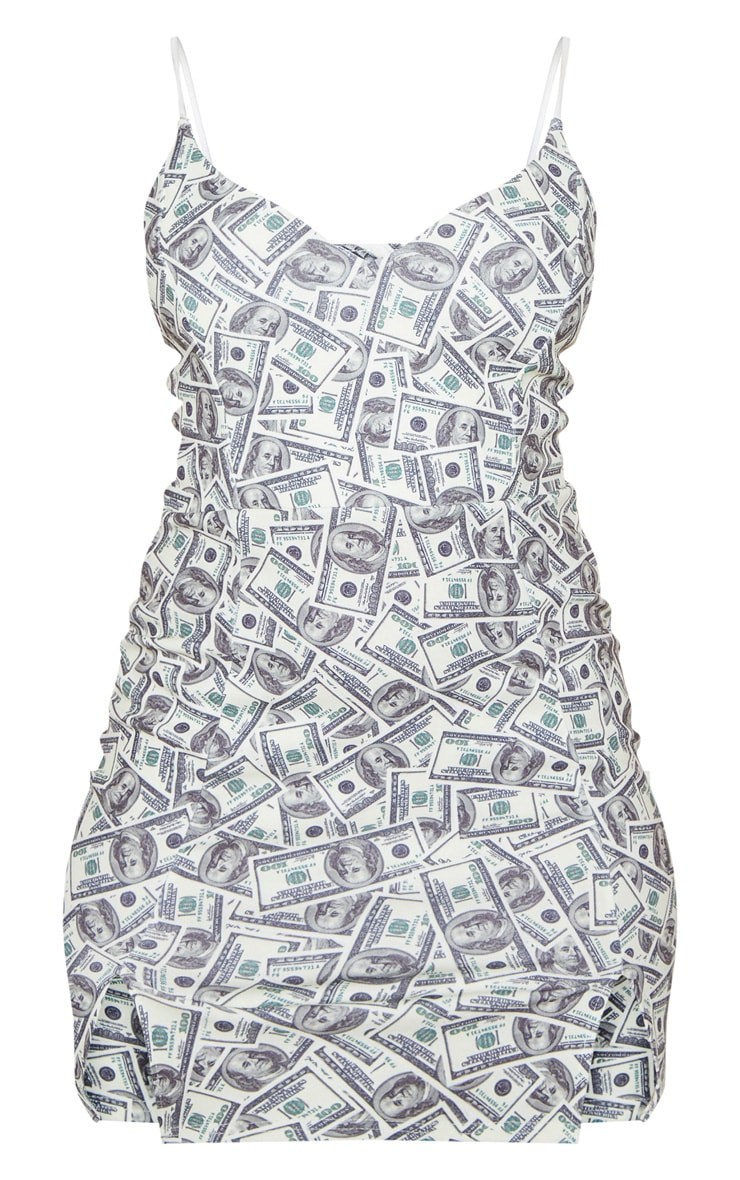 Cream Dollar Print Panelled Double Split Bodycon Dress 3