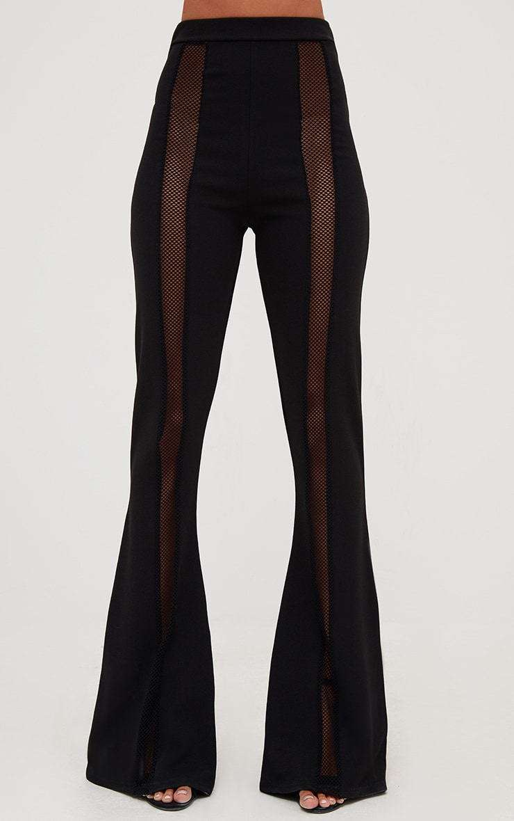Black Fishnet Insert Flared Trousers 2