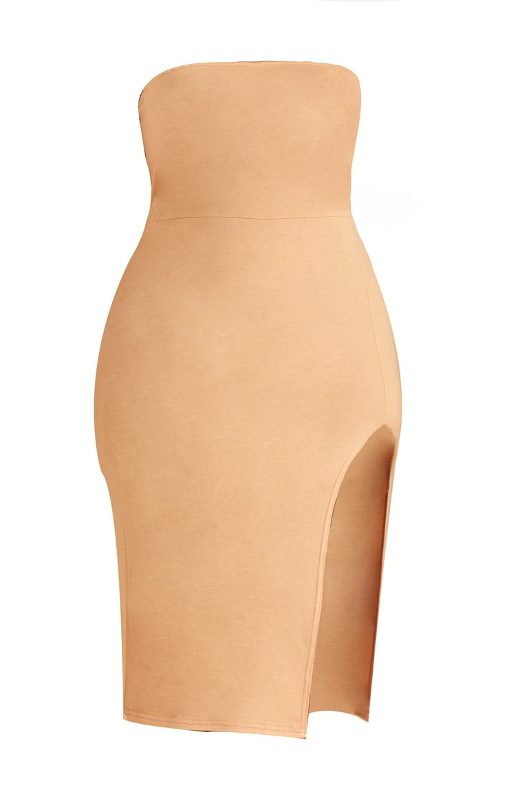 Plus Cream Bandeau Split Front Midi Dress 3