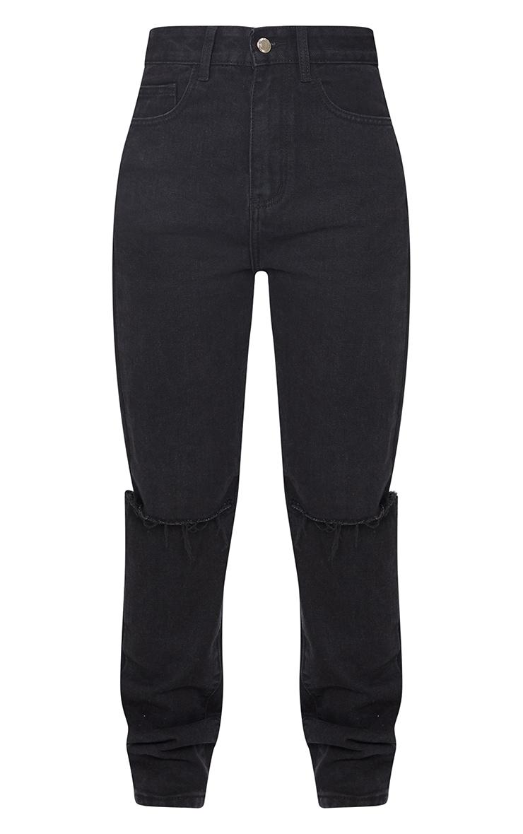 Washed Black Slash Knee Long Leg Straight Leg Jeans 5