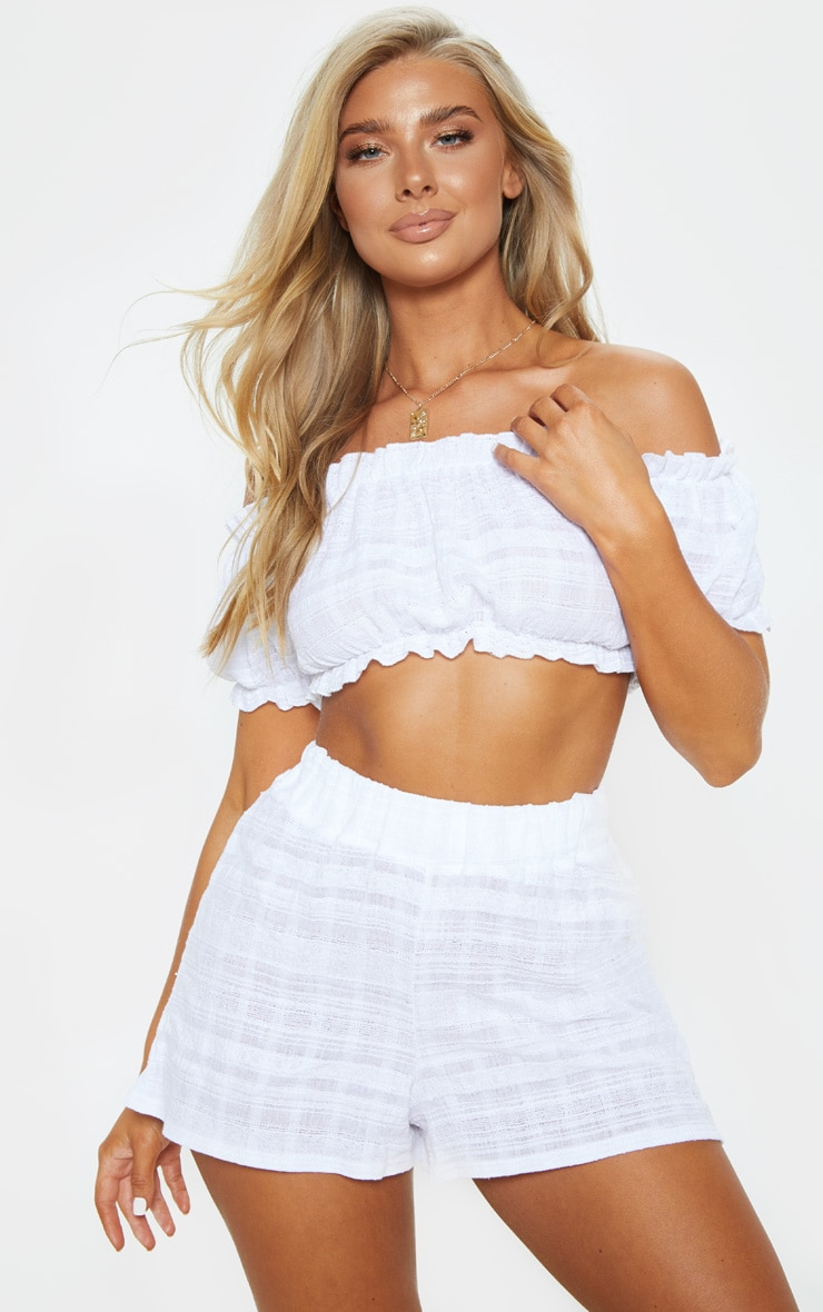 White Bardot Cotton Check Beach Top 1
