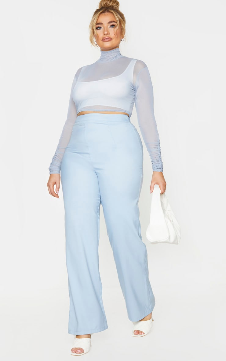 Plus Dusty Blue Mesh High Neck Ruched Sleeve Crop Top 3