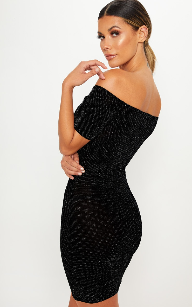 Black Bardot Short Sleeve Textured Glitter Bodycon Dress 2