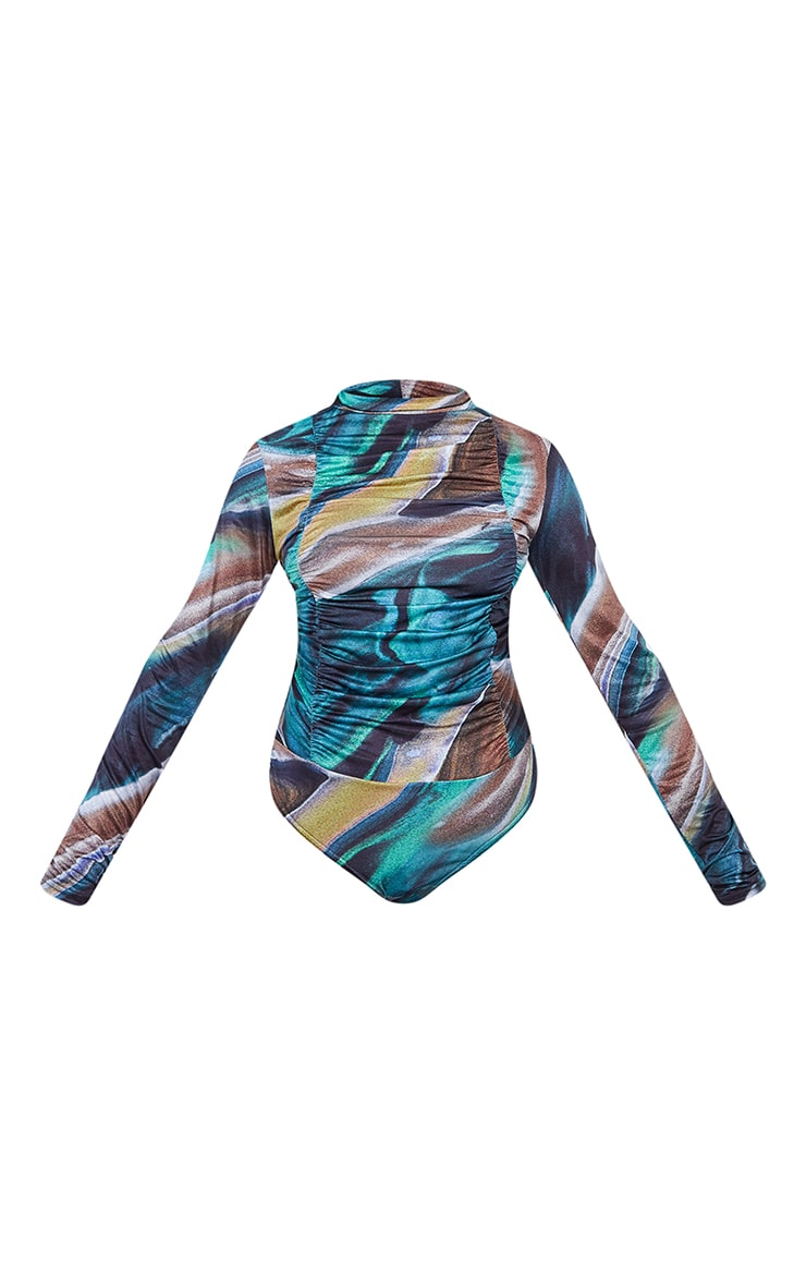 Dark Teal Marble Print Jersey Draped High Neck Bodysuit 5