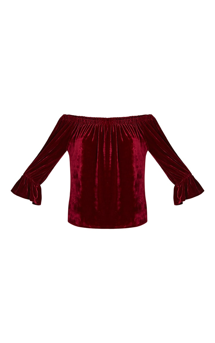 Evalyn Wine Velvet Bardot Top 3