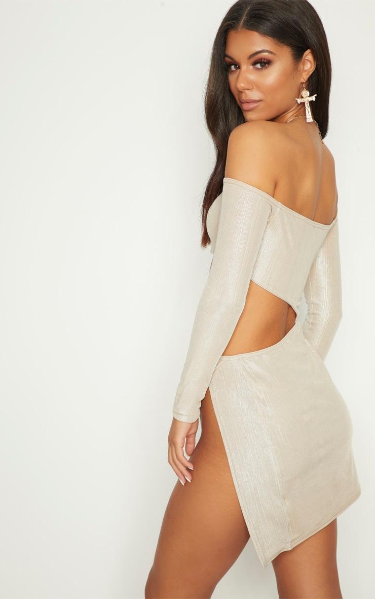 Champagne Plisse Bardot Cut Out Extreme Split Bodycon Dress 2