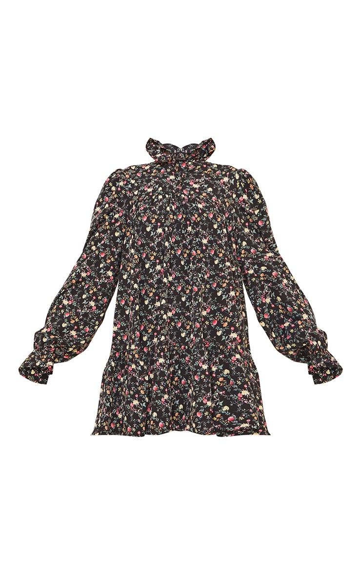 Black Floral Print High Neck Frill Detail Smock Dress 5