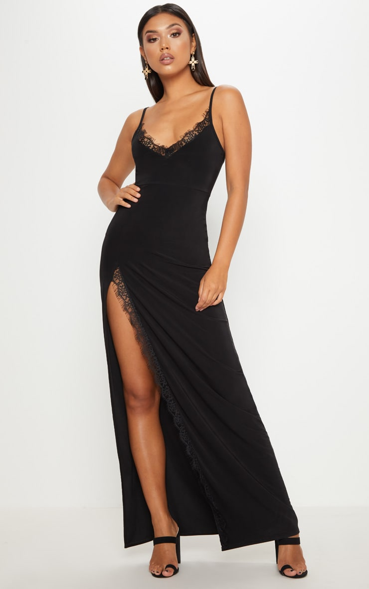 Black Strappy Lace Insert Extreme Split Leg Maxi Dress 1