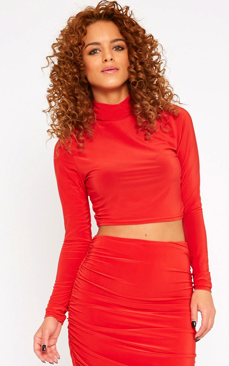 Saylor Red Slinky Turtle Neck Crop Top 1