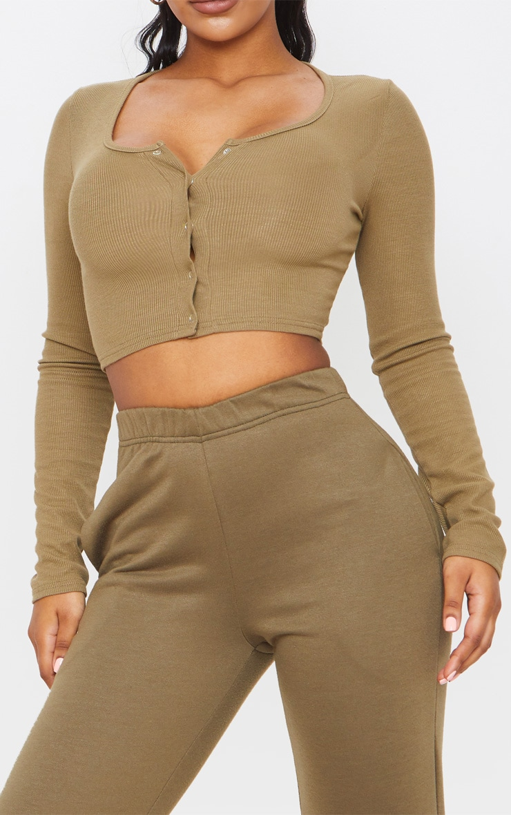 Khaki Rib Popper Scoop Neck Crop Top 5