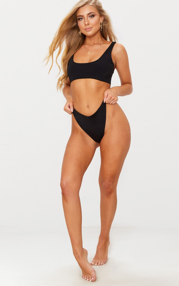 Black Two Piece Scoop Bikini Set 4