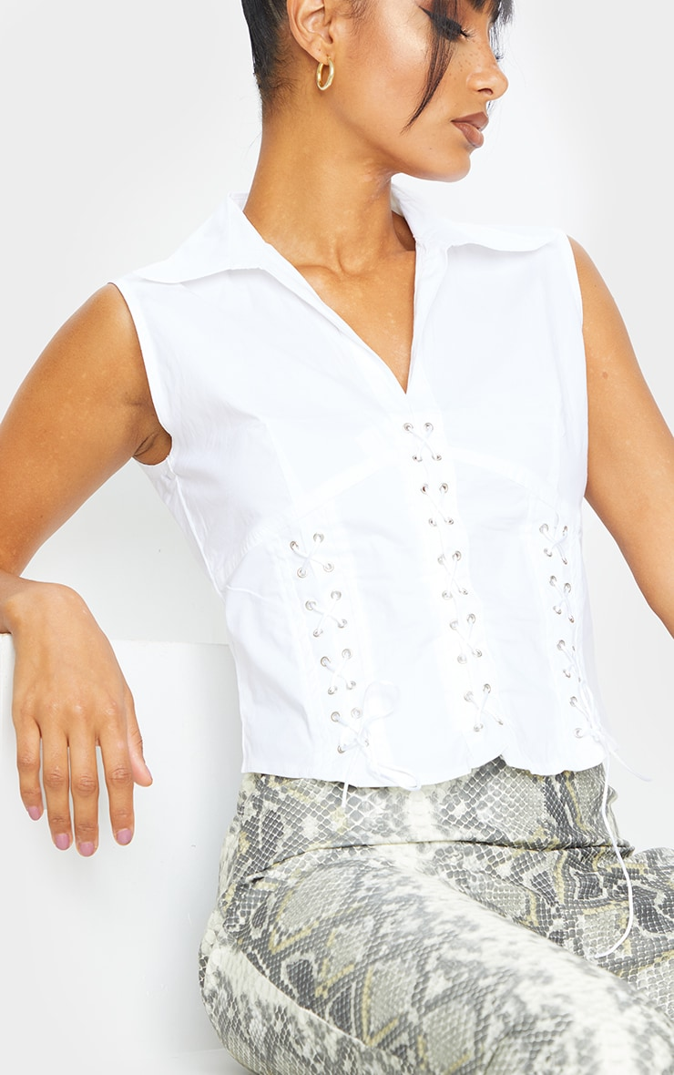 White Woven Lace Front Sleeveless Shirt 4