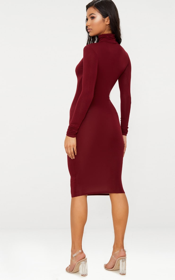 Basic Burgundy Roll Neck Midi Dress 2