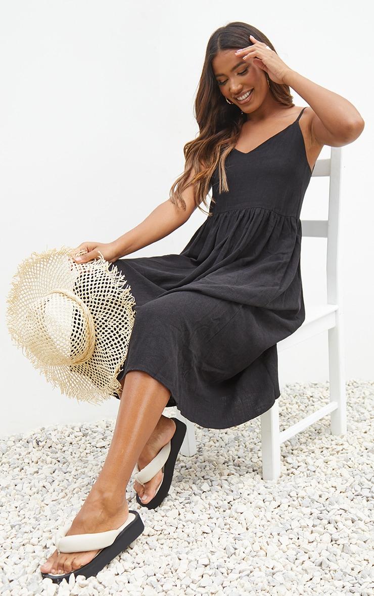 Black Linen Strappy Midaxi Dress 1