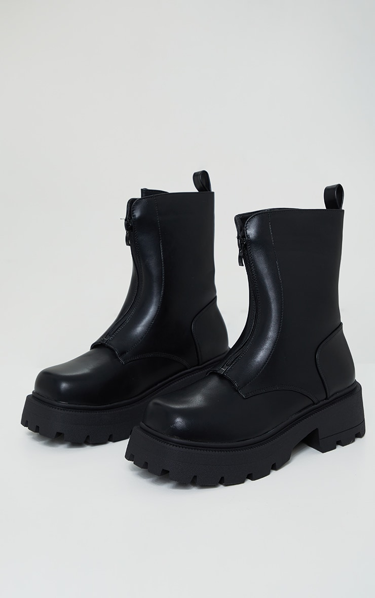 Black Matte PU Chunky Cleated Zip Up Boots 1