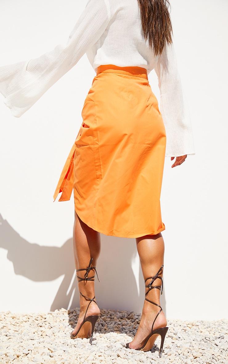 Orange Foldover Button Through Midi Skirt 3