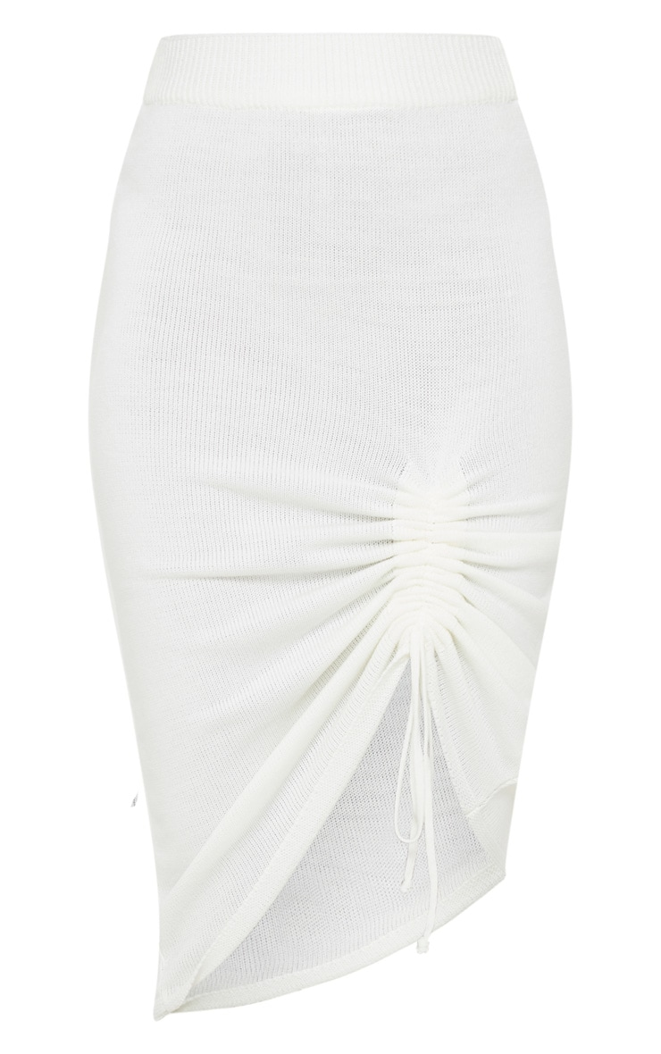 Ivory Ruched Front Knitted Midi Skirt 4