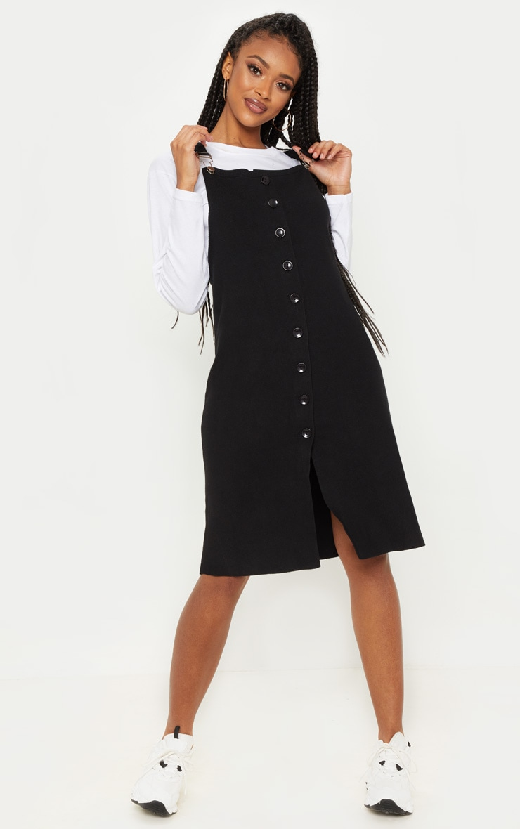 Black Fine Knit Button Front Pinafore Midi Dress