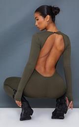 Khaki Thumbhole Open Back Jersey Jumpsuit 1