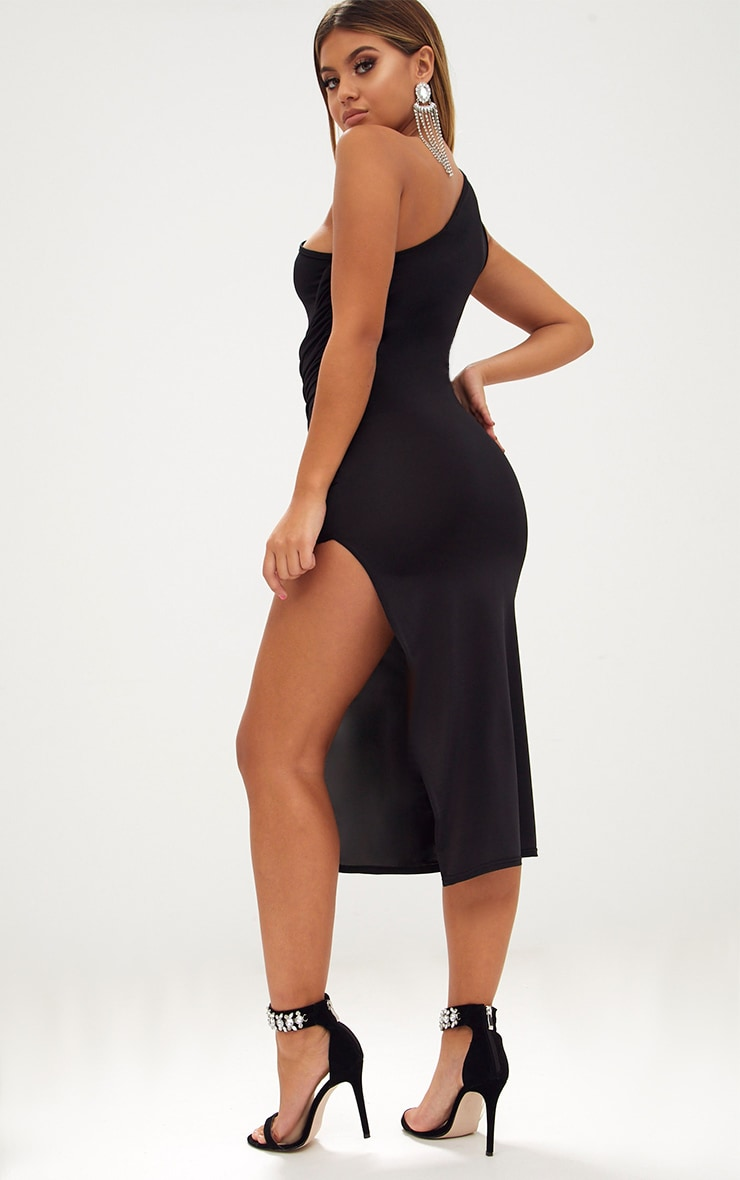 Black One Shoulder Ruched Detail Slinky Midi Dress 2