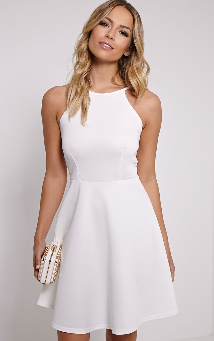 Lamar Cream Strap Back Skater Dress 1