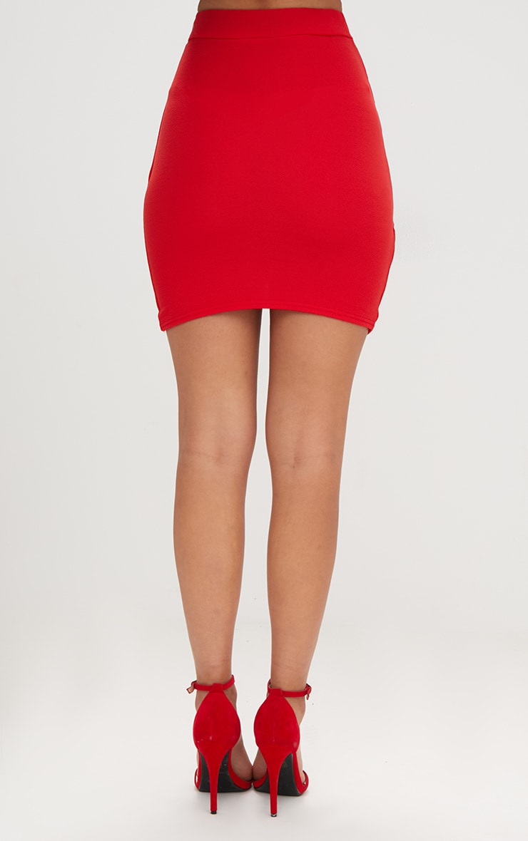 Red Ruched Wrap Mini Skirt 4