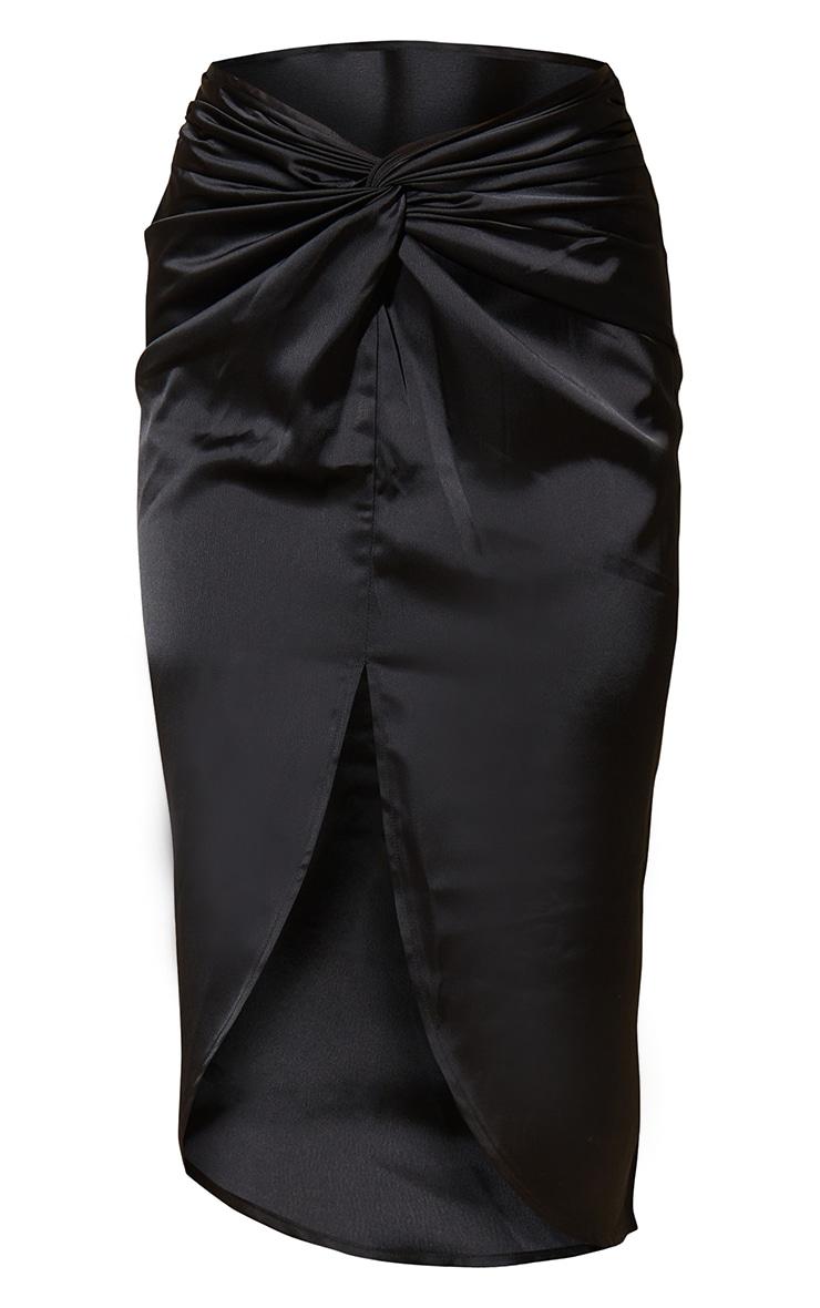 Black Satin Knot Detail Midi Skirt 5