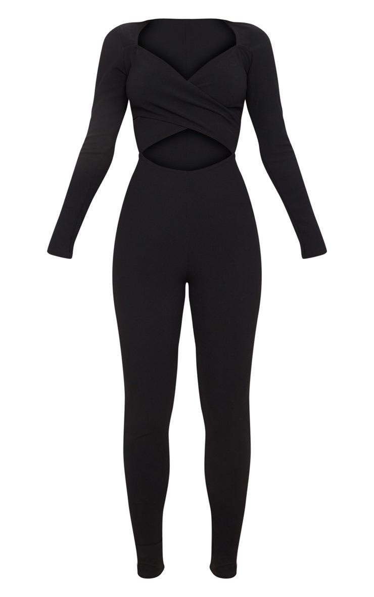 Black Rib Cross Over Long Sleeve Jumpsuit 3