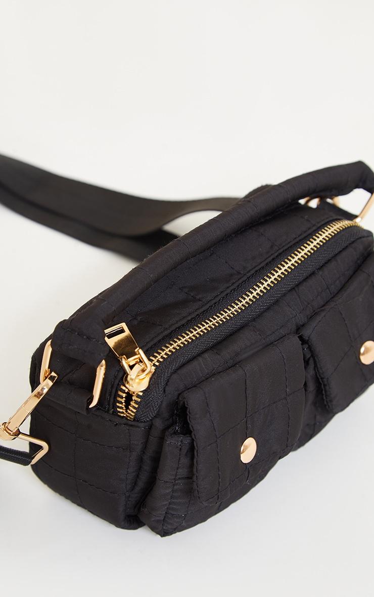 Black Pocket Quilted Cross Body Bag 2