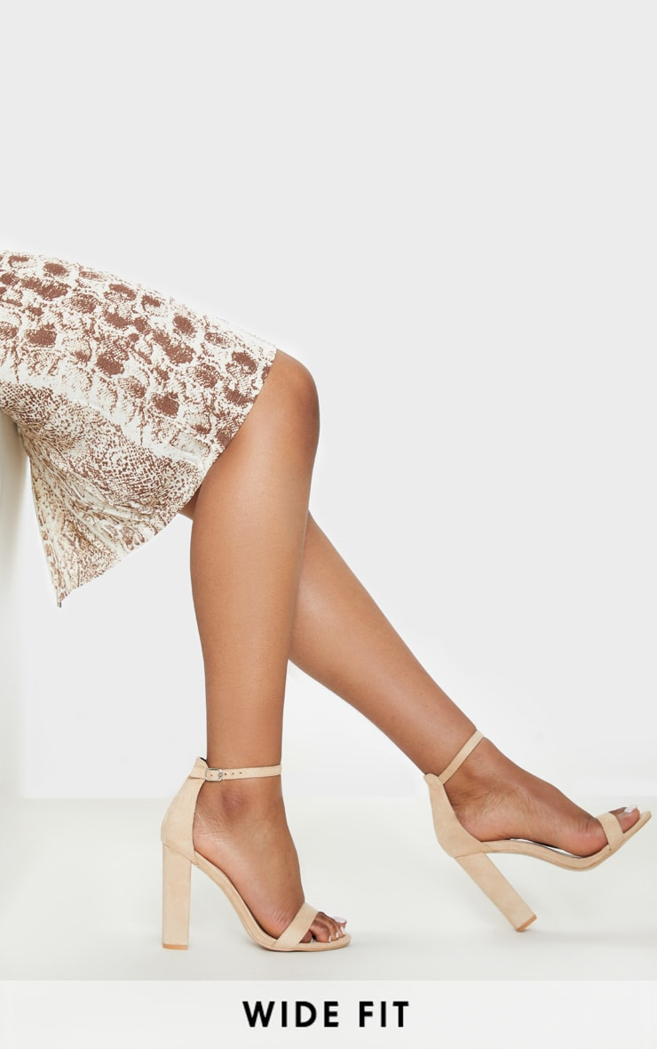 Nude Wide Fit Block Heeled Sandals  1