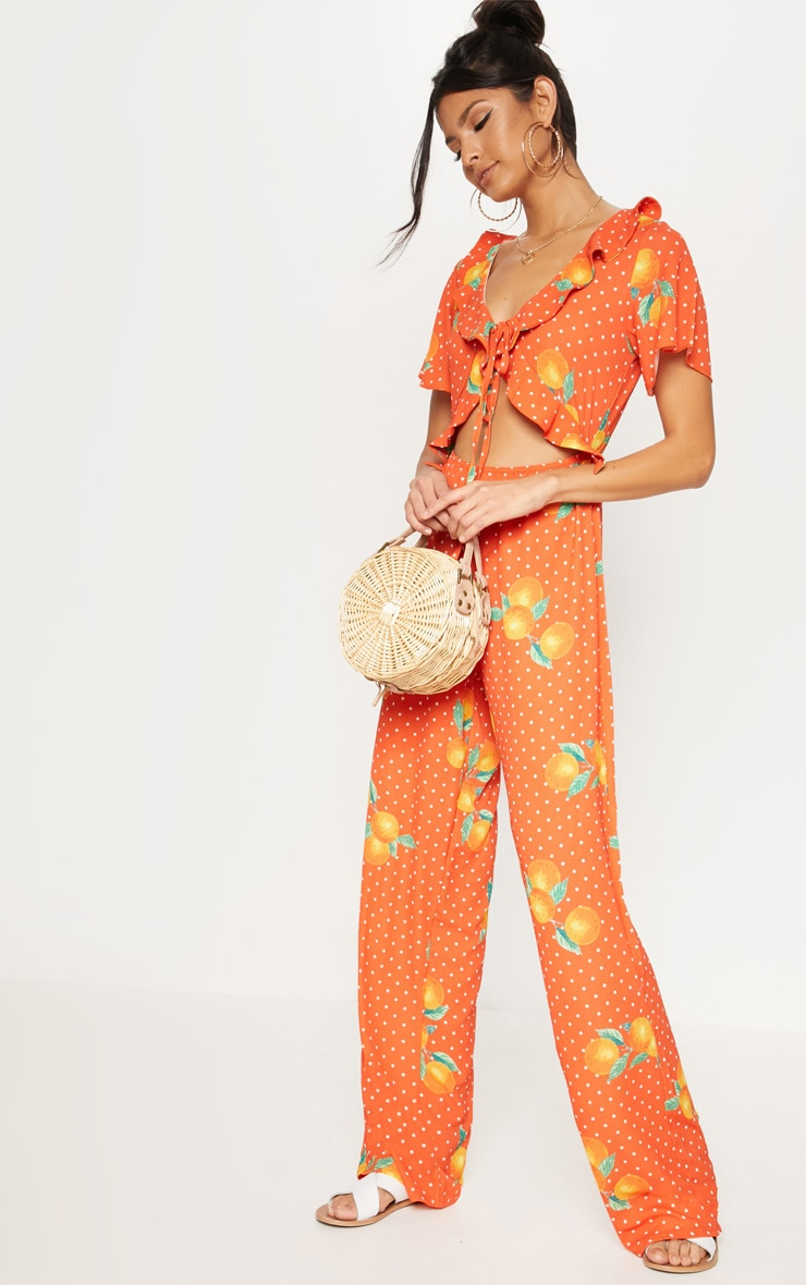 Orange Polka Dot Short Sleeve Frill Tie Front Jumpsuit 1