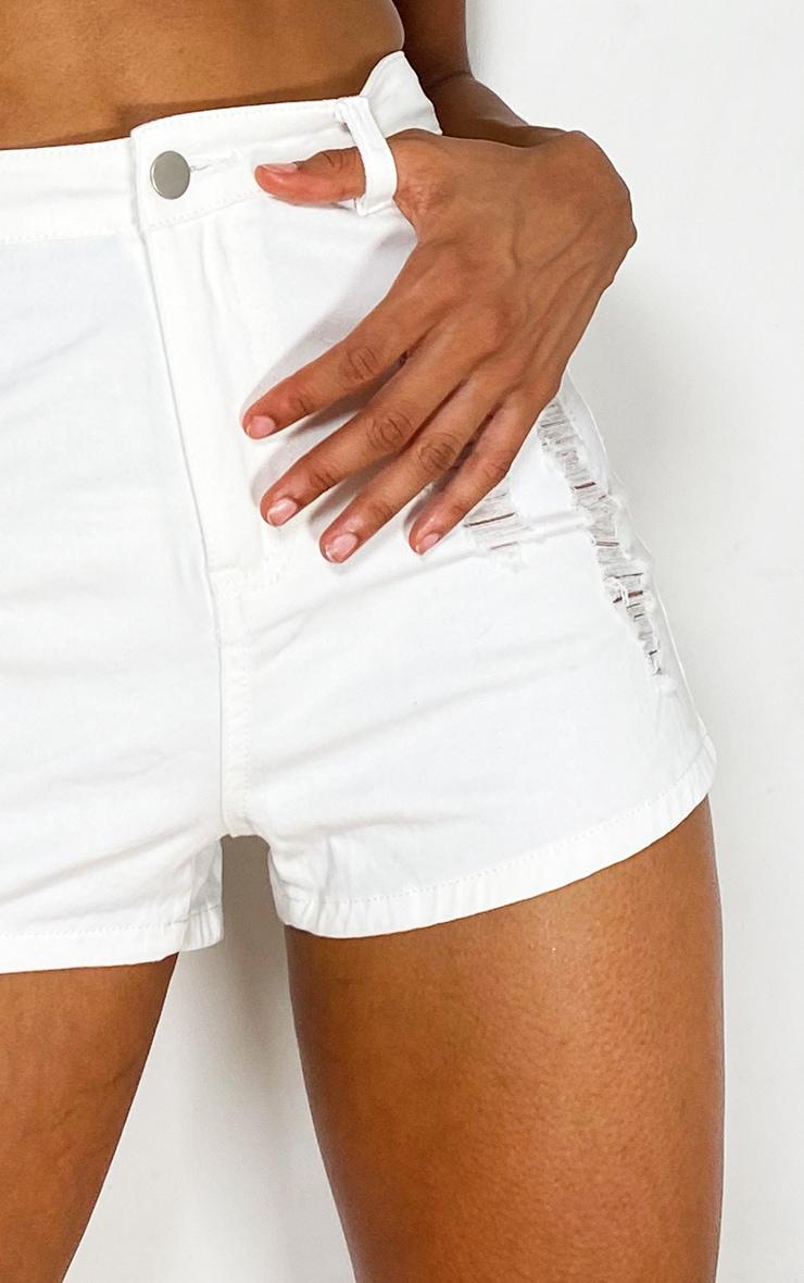 PRETTYLITTLETHING White Distress Denim Disco Shorts 4