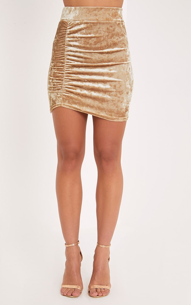 Elettra  Champagne Crushed Velvet Side Ruched Mini Skirt  2